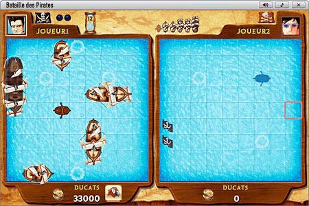 Bataille des Pirates              Jeu avec des tirs manqués, des bateaux touchés et des navires coulés