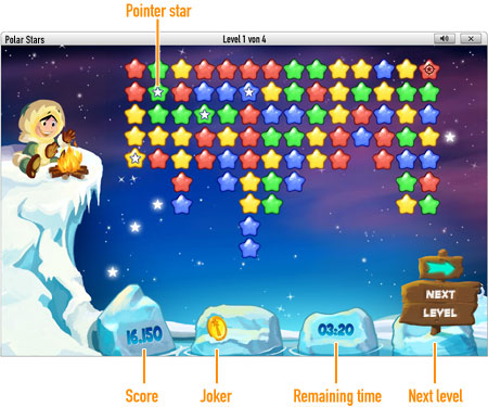 Play Polar Stars online at GameDuell. Take a trip to the North Pole and reveal constellations. Play Polar Stars for free at GameDuell and show off your ice-cool skills.